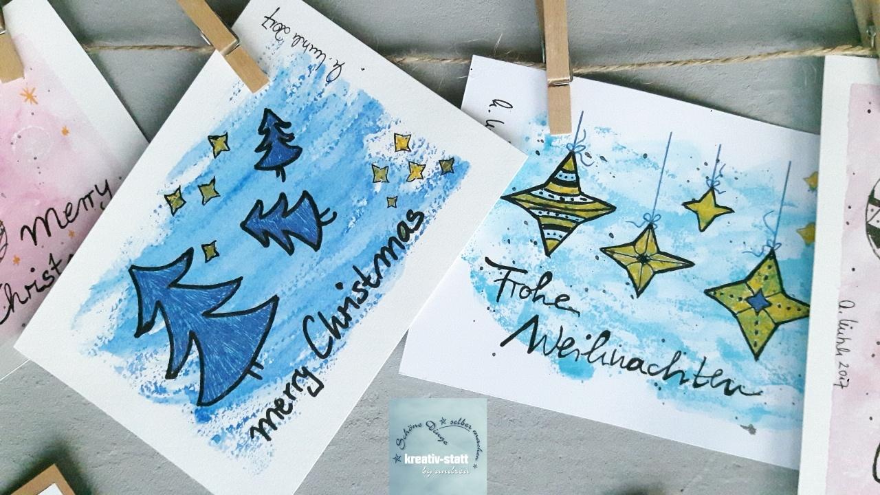 Weihnachtskarten Malen.Diy Watercolor Weihnachtskarten Mit Gelmalstiften Statt