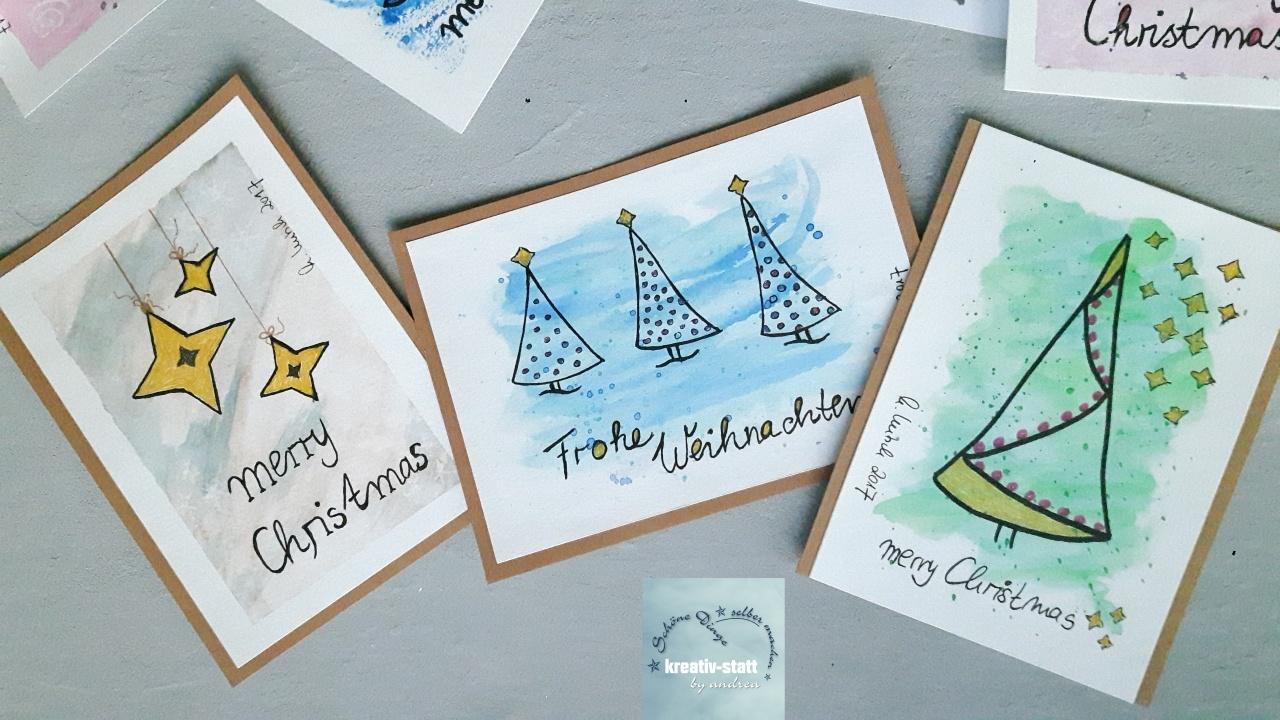 diy watercolor weihnachtskarten mit gelmalstiften statt. Black Bedroom Furniture Sets. Home Design Ideas