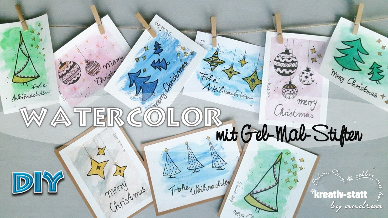 diy watercolor weihnachtskarten mit gelmalstiften statt wasserfarben wie man. Black Bedroom Furniture Sets. Home Design Ideas