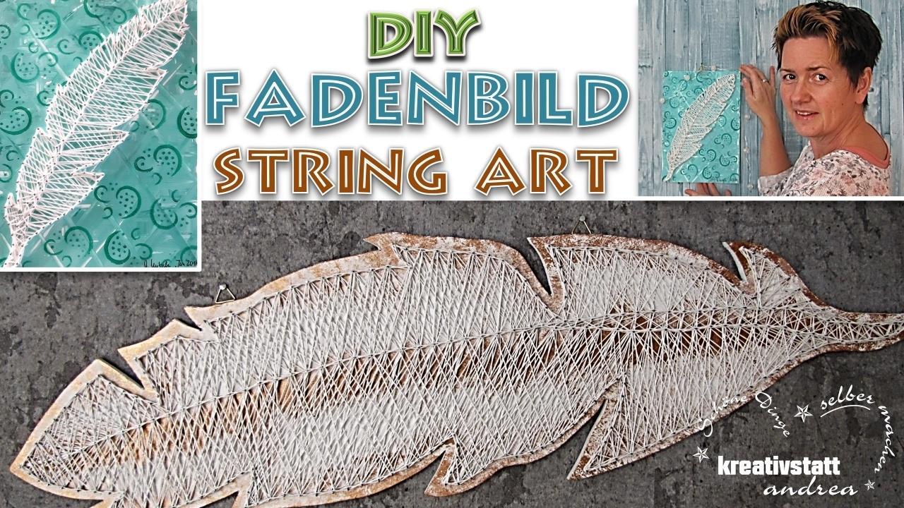 DIY – Federbild mit Nägeln und Faden (Schnur) | STRING ART