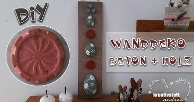 DIY – Wanddeko mit gefärbtem Beton und Holz für Ostern oder Frühling
