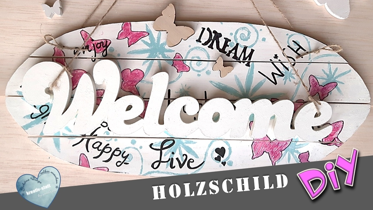 diy holzschild willkommen mit handlettering kreativstattandrea diy sch ne dinge selber. Black Bedroom Furniture Sets. Home Design Ideas