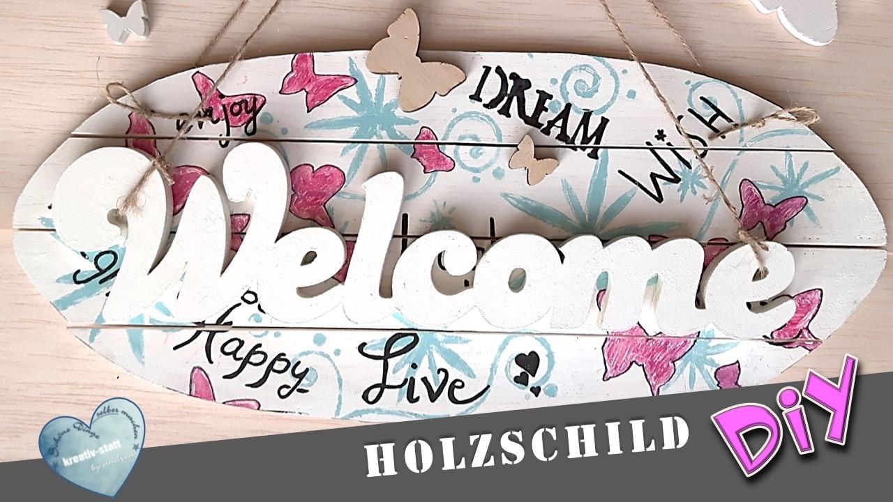 """DIY – Holzschild """"Willkommen"""" mit Handlettering"""