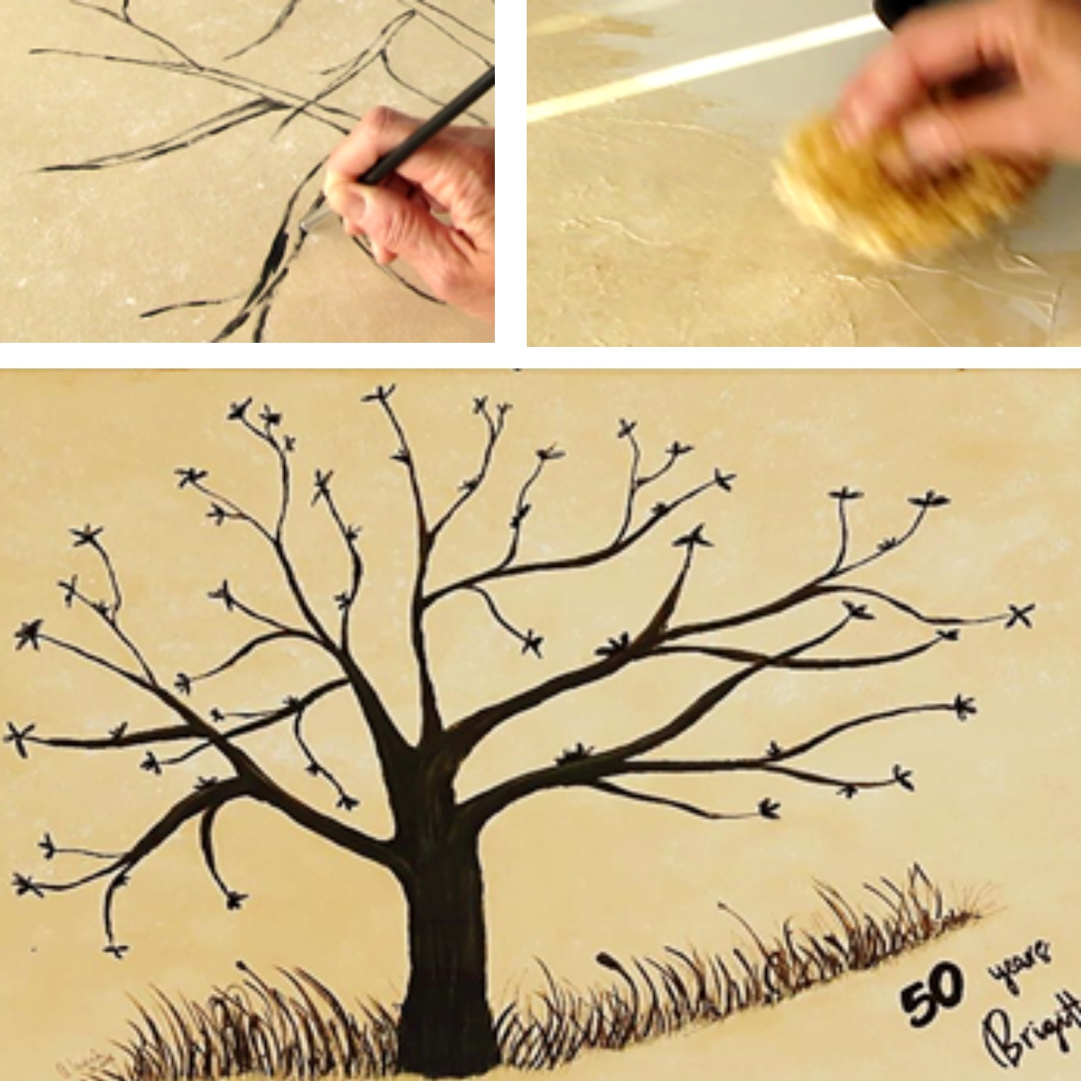 Diy Malen Acryl Baum Für Partyspiel Hintergrund Schwammtechnik