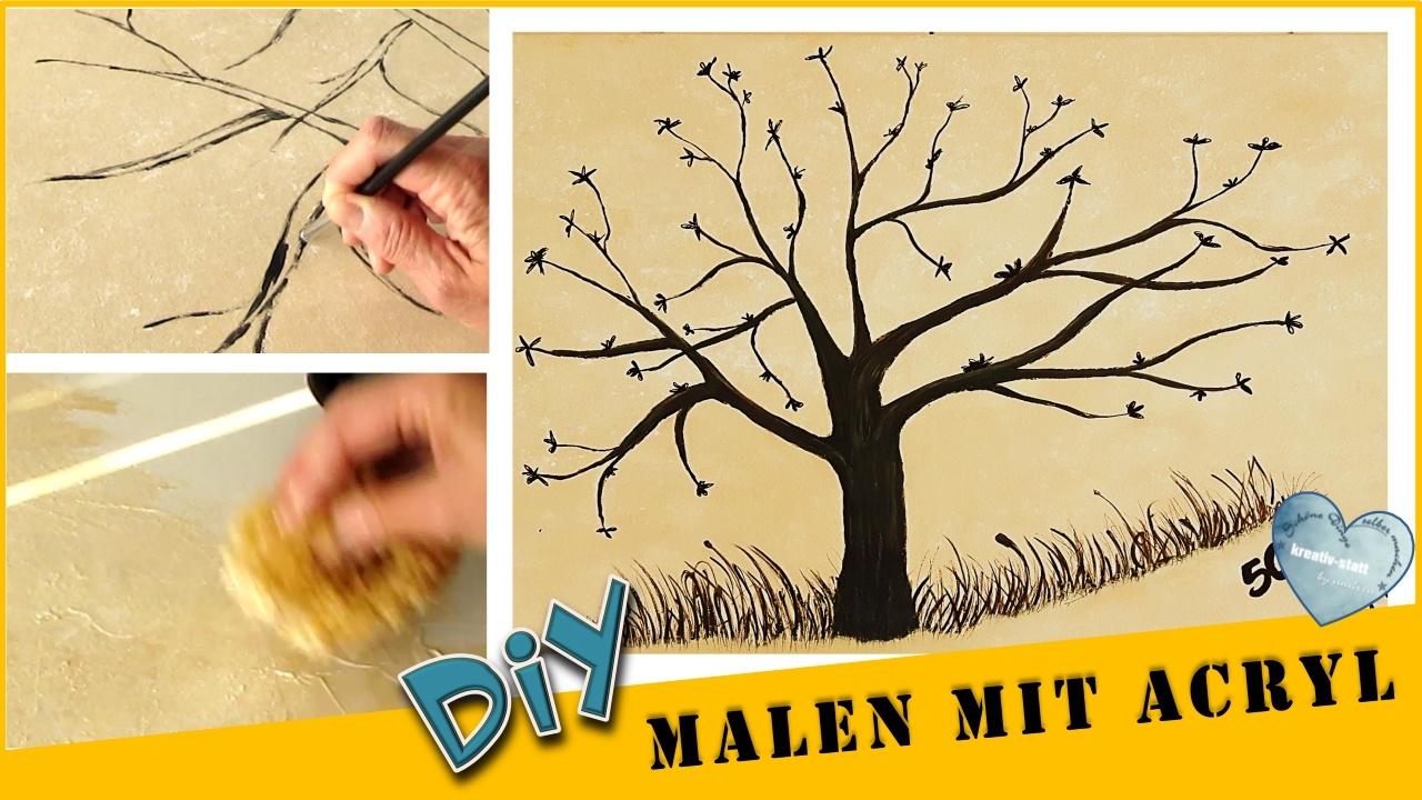 DIY Malen Acryl – Baum für Partyspiel | Hintergrund Schwammtechnik | Fingerabdruck