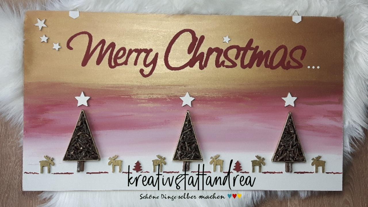 DIY Weihnachtsbild malen mit Kreidefarben und Naturmaterialien