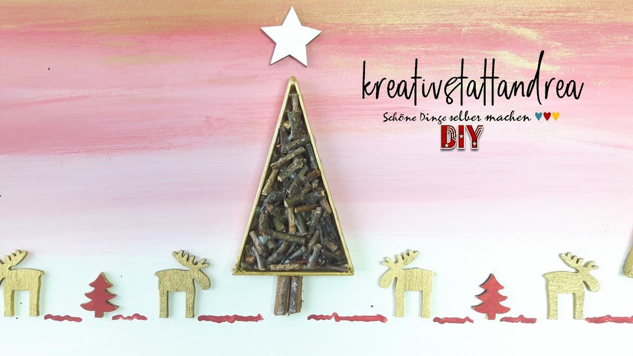 diy weihnachtsbild malen mit kreidefarben und naturmaterialien kreativstattandrea diy. Black Bedroom Furniture Sets. Home Design Ideas