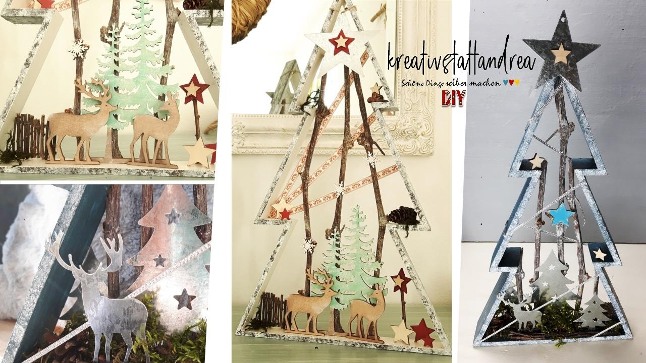 DIY Weihnachtsdeko – Winterszene im Rahmen, Box | Winterlandschaft