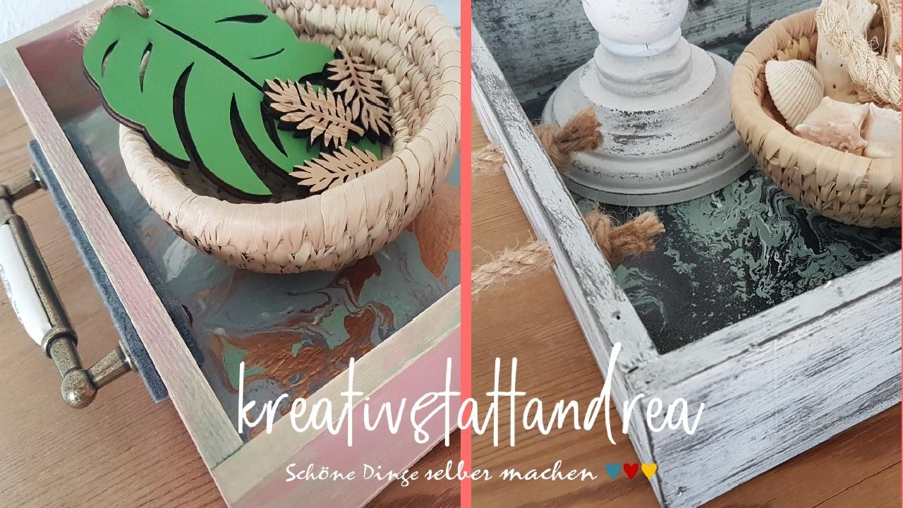 DIY Deko Holztablett im Landhaus Shabby Stil | Fluidpainting Kreidefarbe