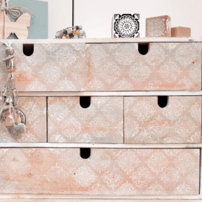 IKEA MOPPE im Shabby Chic Glamour-Effekt und Stempeldruck