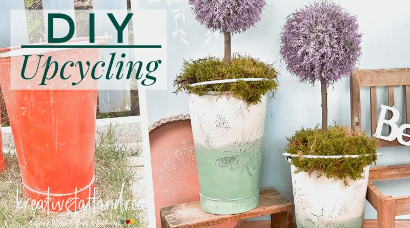 DIY Upcycling – alte Blecheimer mit Kreidefarbe und Saltwash