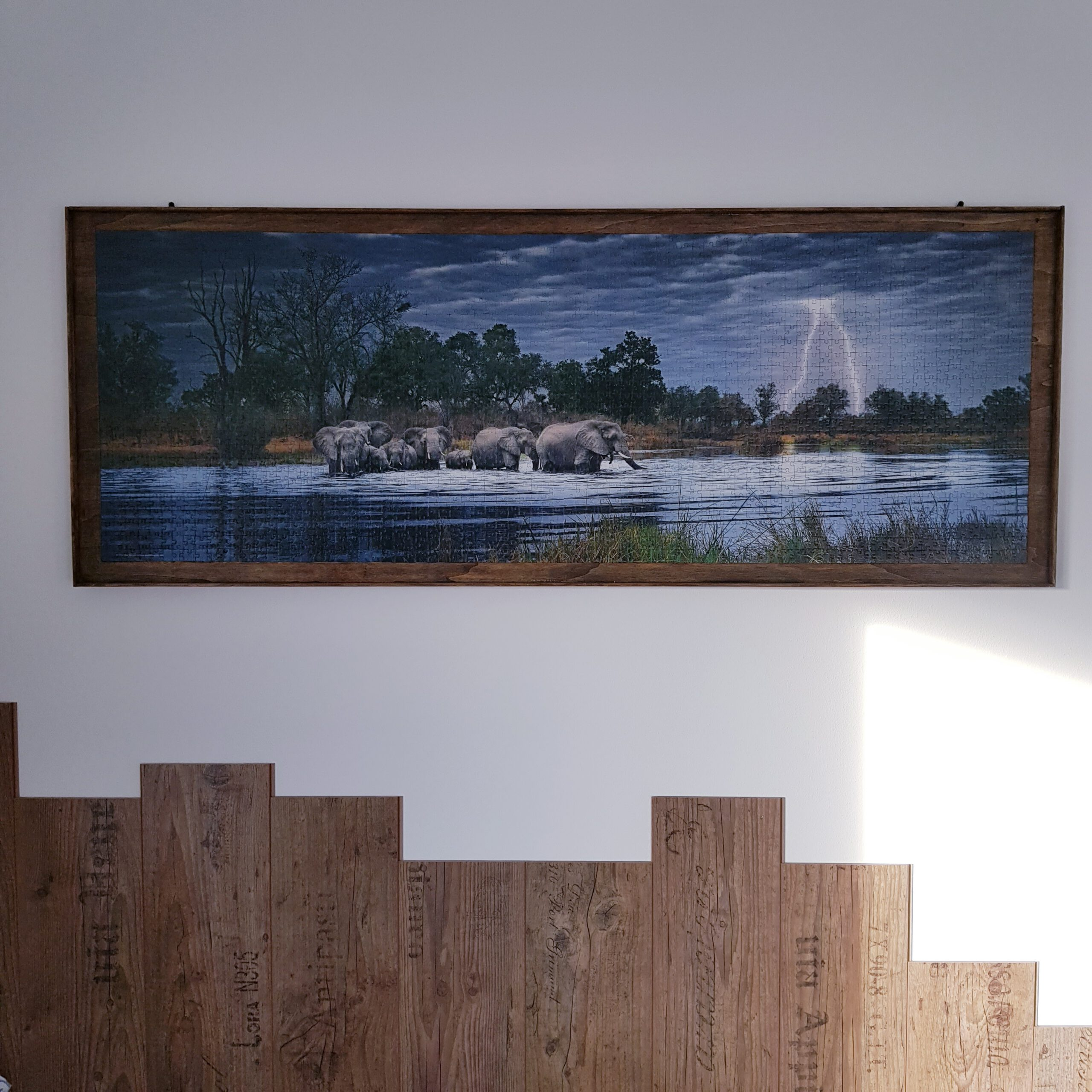 DIY Puzzle XL auf Platte kleben und Holzrahmen bauen